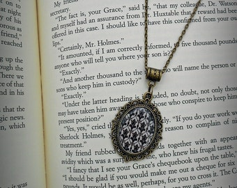 BBC Sherlock Wallpaper Pattern Damask Necklace