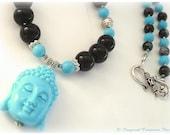 PEACEFUL BUDDHA: Snowflake Obsidian & Turquoise Gemstone Necklace, Zen Yoga Mala Inspired Spiritual Mantra Hippy Boho Meditation Buddhism