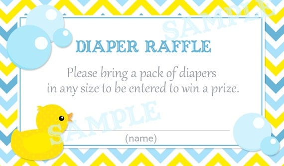 ... Blue Rubber Duck Baby Shower Diaper Raffle Tickets - Printable File