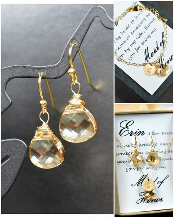 Items similar to champagne gold yellow earrings swarovski for Jewelry for champagne wedding dress