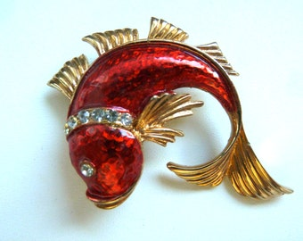 Vintage Red Fish Brooch