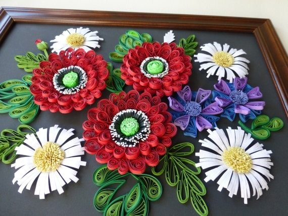 Items Similar To Wall Quilling Panno Bouquet Of Field Flowers On Etsy