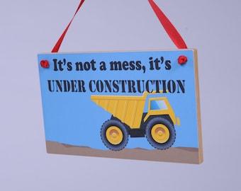 Kid's Playroom Sign No. 1 - Under Construction Dump Truck