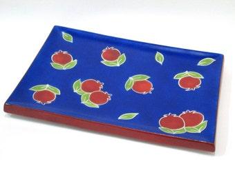 Ceramic Platter, Blue Platter, Sukkot gift, Sukkot Platter, Platter with hand painted Pomegranates, Home decor