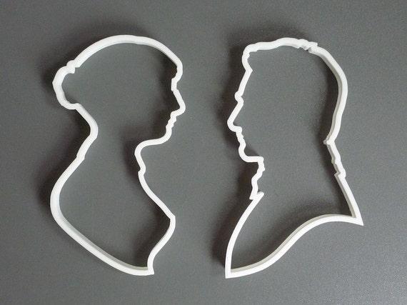 Pride and Prejudice cookie cutter set , 3D printed