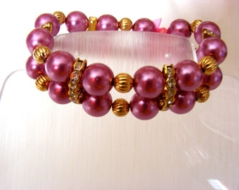 Pink and Gold Stretchy Bracelet