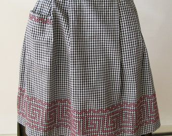 Vintage Apron hand made Gingham black white with red smock stitching.