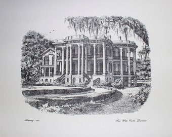 Print of Pen & Ink Drawing - Nottoway Plantation, White Castle LA - 1857