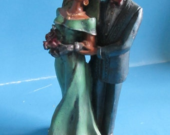Vintage Black couple Bride and Groom resin figurine