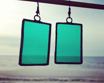 Green Handcrafted Stained Glass Earrings