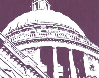 London print, St Paul's Cathedral screen print, London art Iconic London