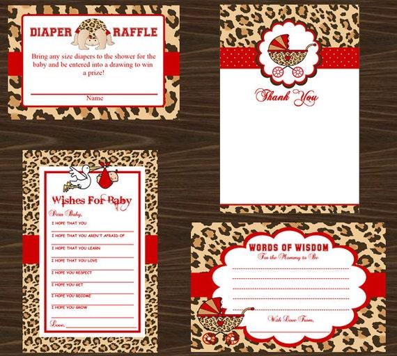 cheetah print baby shower favors advice card thank you card diaper