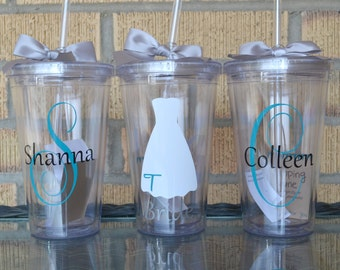 Bridesmaid Gifts - Set of 3 - Monogrammed Initial Tumblers  - Bridesmaids Gifts - Custom Letter/Colors -