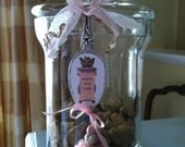Dog treat jar charm made from vintage silver spoon