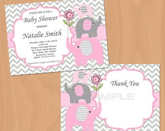Girl Baby Shower Invitation Pink Grey Elephants Baby Shower Invitation Chevron Girl Baby Shower Invites (50-1) Free Thank You Card