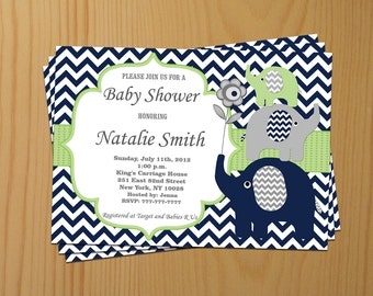 Boy Baby Shower Invitation Boy Elephant Baby Shower Invitation Baby Shower Invitation Baby Shower Invitations (80a)-Free Thank You Card