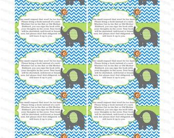 Bring a book insert card baby shower bring a book instead of a card elephant baby shower invitation insert boy baby shower (87kt1) download
