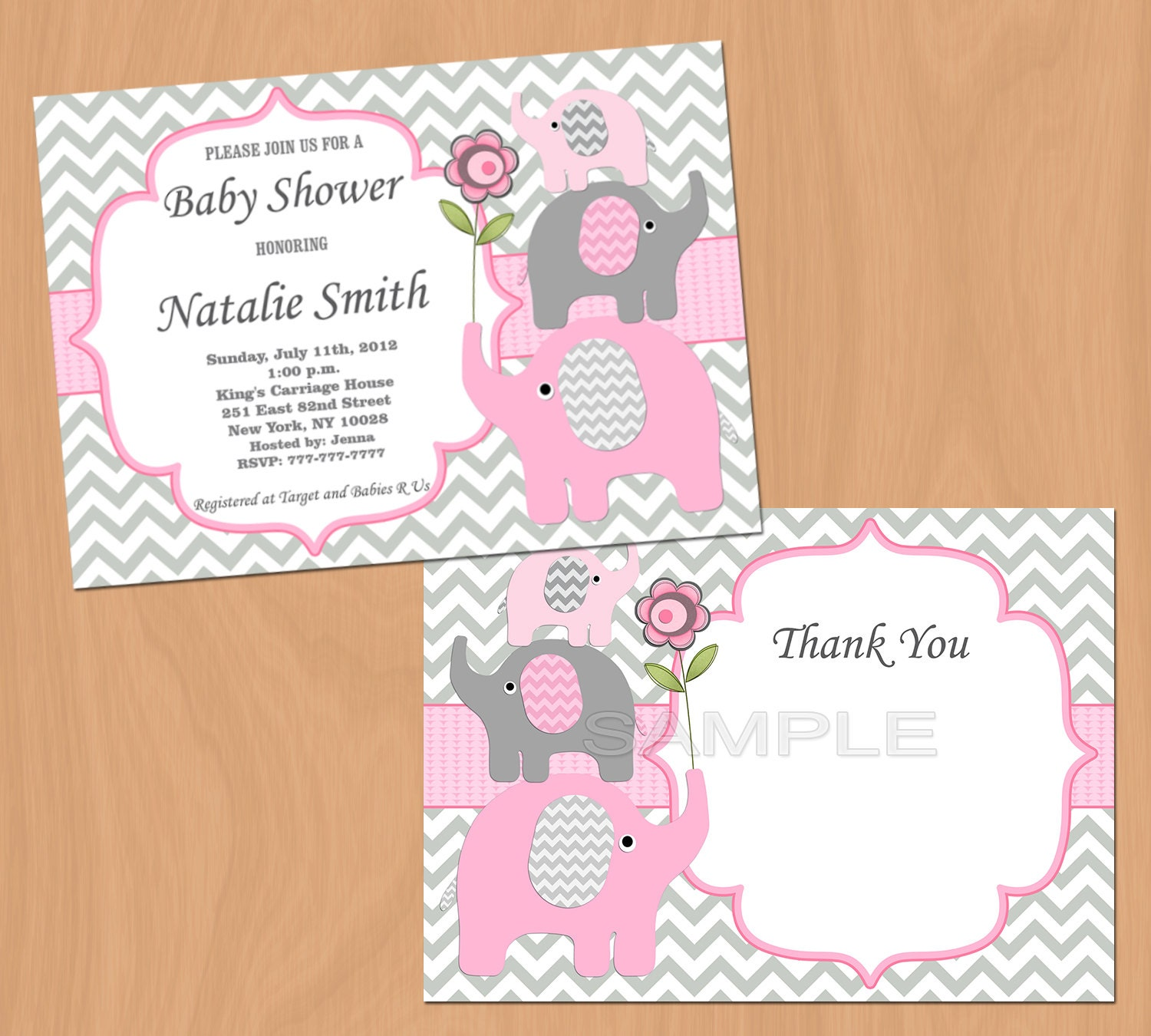 girl baby shower invitation pink grey elephants baby shower