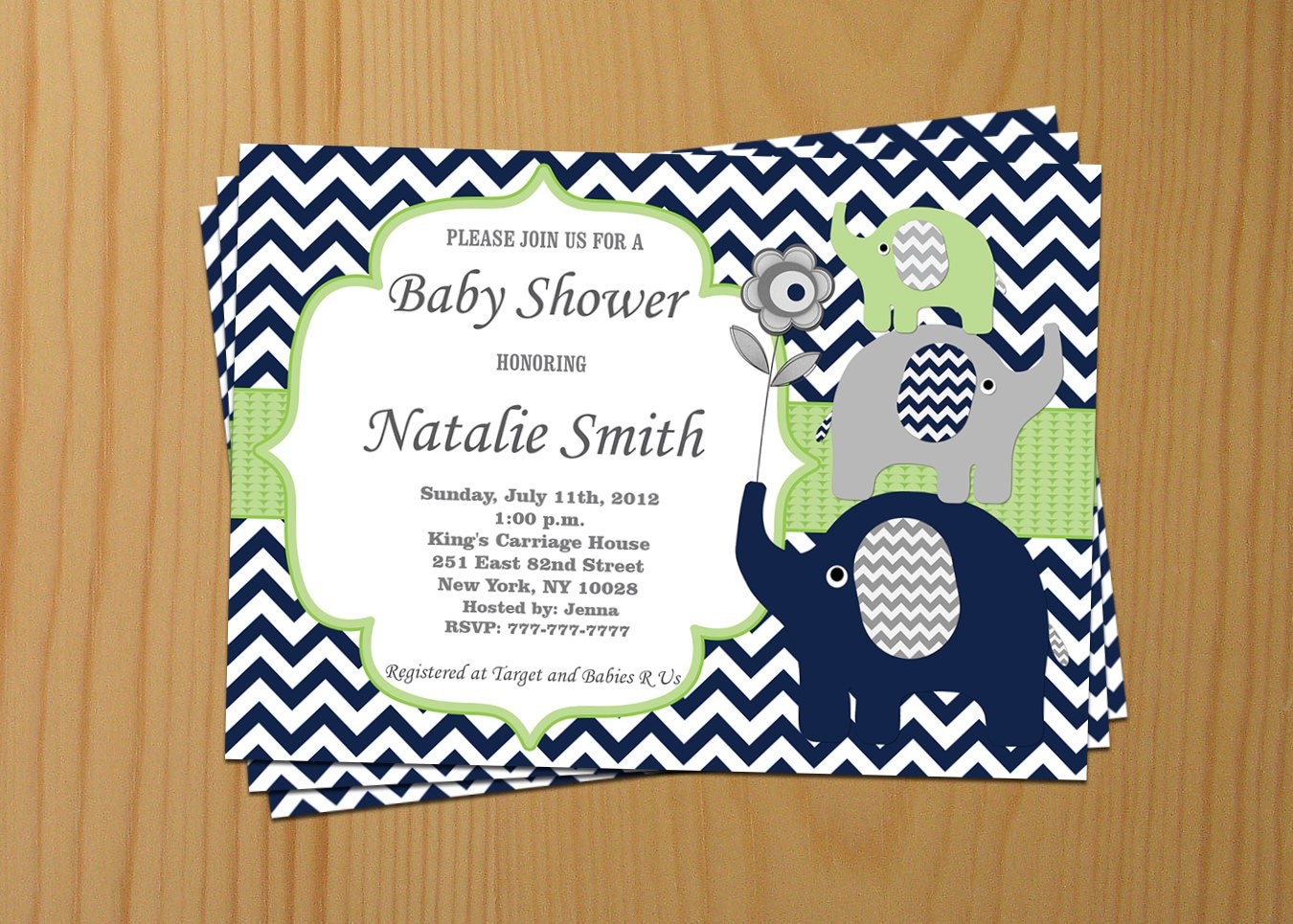Boy Baby Shower Invitation Blue Elephant Baby Shower