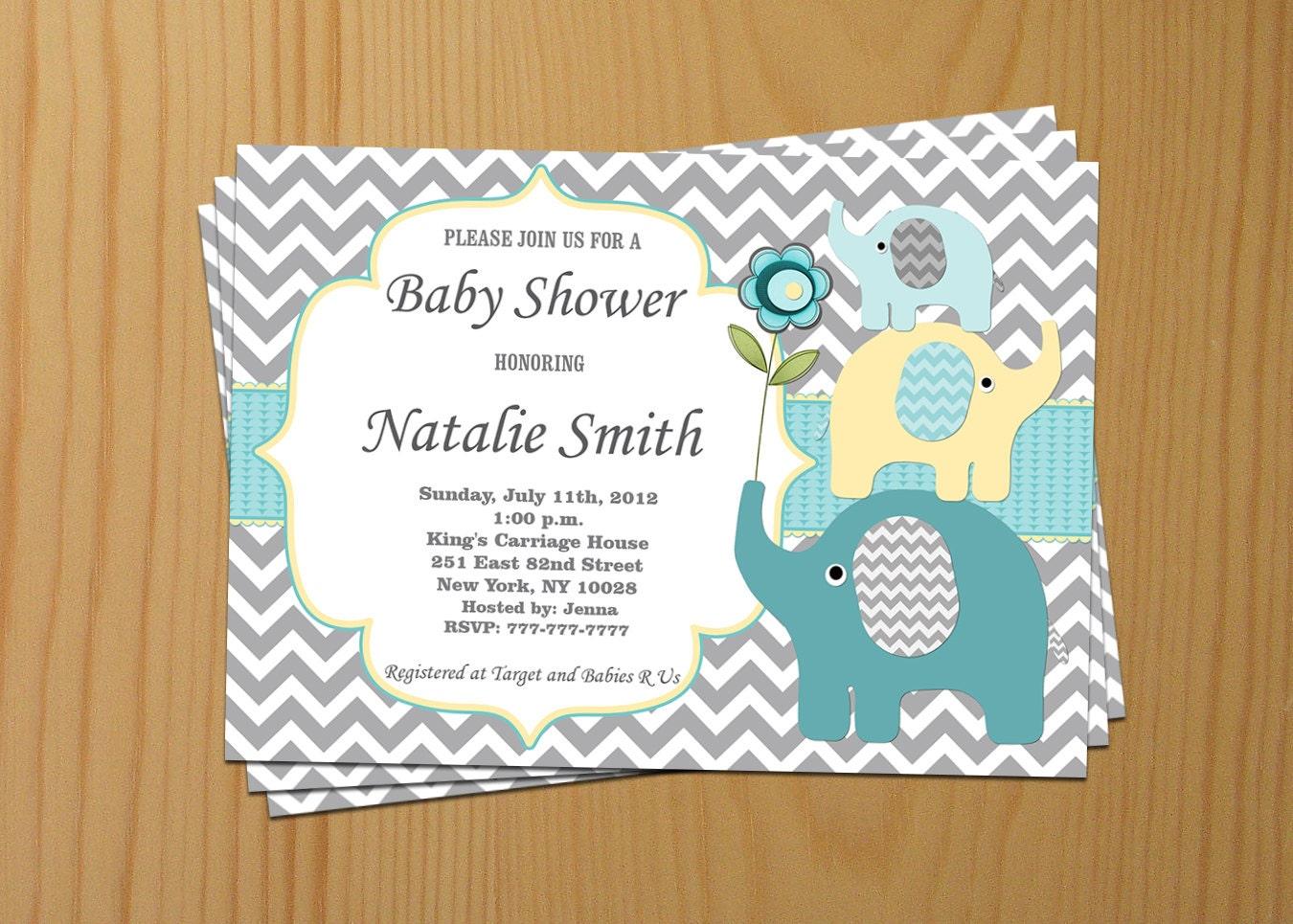 elephant baby shower invitations gender neutral baby shower