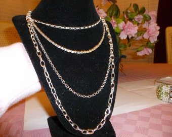 Dazzling Silver Multiple Chain Necklace