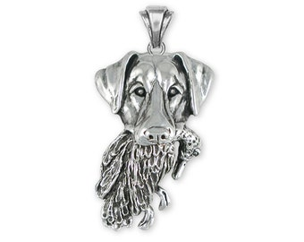 Sterling Silver Labrador and Duck Pendant Jewelry  LBD2-PVM