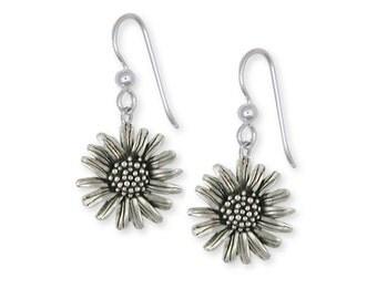 Solid Sterling Silver Daisy Flower Earrings Jewelry  DY4-E