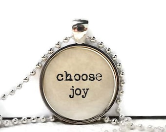 Choose joy resin necklace or keychain word jewelry quote jewelry inspirational quote