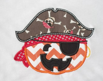 Halloween Applique Shirt-- Pumpkin Pirate
