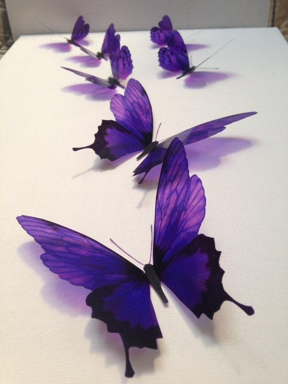 7 deep purple luxury amazing in flight butterflies 3d