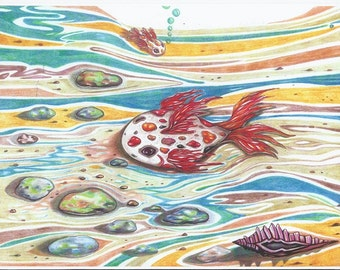 Papa and Baby Fish Colored Pencil Art Print Fish Art Nautical Art Goldfish Print Goldfish Drawing Art for Kids Beach Print Clown Goldfish