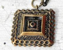 Pentti Sarpaneva for Turun Hopea, vintage brutalist bronze pendant . Scandinavian modernist design.