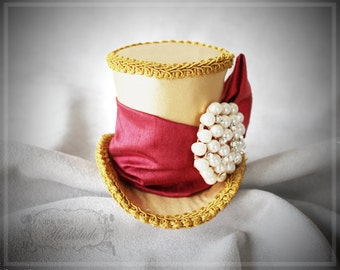 Holiday Hat, Christmas Hat, Holiday Party Hat, Gold Mini Top Hat, Mad Hatter Top Hat,  Mini Hats, Holiday Party Hats, Women Mini Top Hat