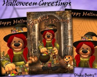 Dinky Bears Witch Halloween Greetings - Digital Download