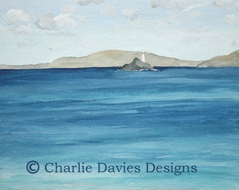 St Ives seascape with lighthouse Giclee Print