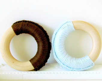 Eco Teethers for Baby Boy / Teething Rings / Natural Wood Teething Toy for baby boy