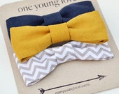 Baby Boy Onesie with 3 Snap-On Bow Ties - Mustard, Navy and Grey Chevron Collection