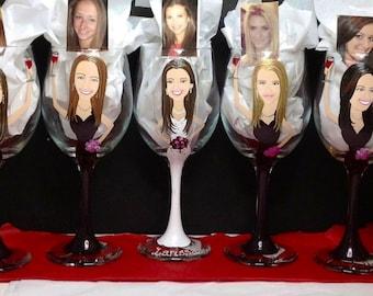 Caricature Cartoon Bridesmaid Wine Glasses