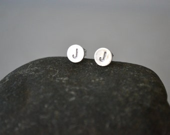 Simple Personalized Initial Stud Earrings-Silver Round Studs-Handmade-Sterling Silver-Great Gift-Everyday Jewelry