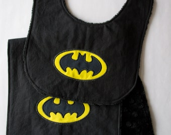 Batman Inspired Baby Bib & Burp Cloth, Super Hero Baby Bib and Burp Rag, Baby Shower Gift Ideas, Minky Embroidered Bib