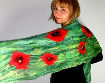 Felted Scarf, Cobweb Scarf, Poppy Scarf, Delicate Fancy Scarf, Felted Cobweb, Felt Scarf, Green Scarf, Red Poppies