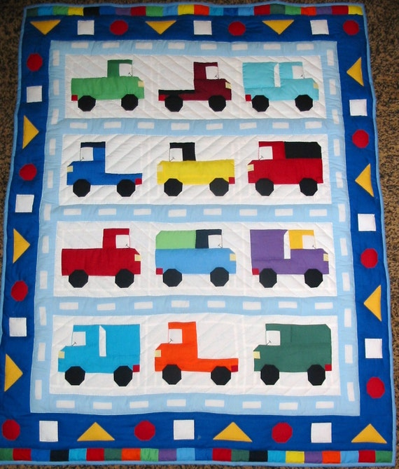 Crib Quilt Size: New Crib Size Quilt With Pieced Trucks Hand Quilted