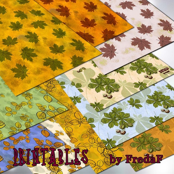 10 Printable Leaves Design Papers Autumn Fall Chestnut