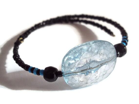 Eco Friendly Minimalist Bracelet Black & Blue Crystal