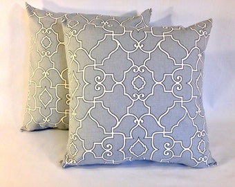 """Grey Lattice Trellis Accent Pillow Cover 'Covington Windsor Sterling' Pillow Cover SET of 2 With Zippers, 18"""" X 18"""""""
