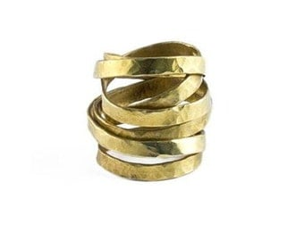 Handmade Hammered  Wrap Brass/Gold Ring, Statement Ring