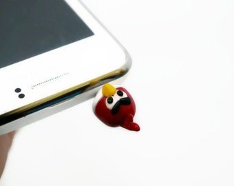 Angry Birds Red, Dust Plug  Phone Dust Stopper Earphone Cap Headphone Jack Charm for iPhone 5 4 4s ,iPad ,Samsung s2 s3, 3.5mm