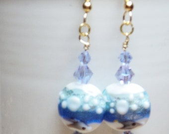 Beautiful Lampwork Glass Beads 15mm Lentil Blue Sea Mist Beads on a 14K Gold-Filled Earring Wire