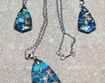 Blue Sea Sediment Jasper Pyrite Pendant and Earrings Beads Set