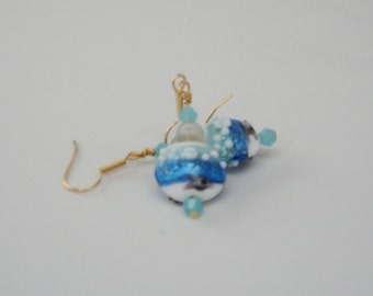 Blue Ocean Glass Lentil Bead Clear Crackle Glass Bead Blue Swarovski Crystal Bead GP Surgical Steel Ear Wires